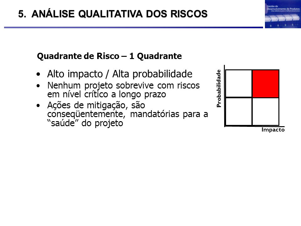 Quadrante de Risco – 1 Quadrante Impacto Probabilidade Alto impacto / Alta probabilidade Nenhum projeto sobrevive com riscos em nível crítico a longo