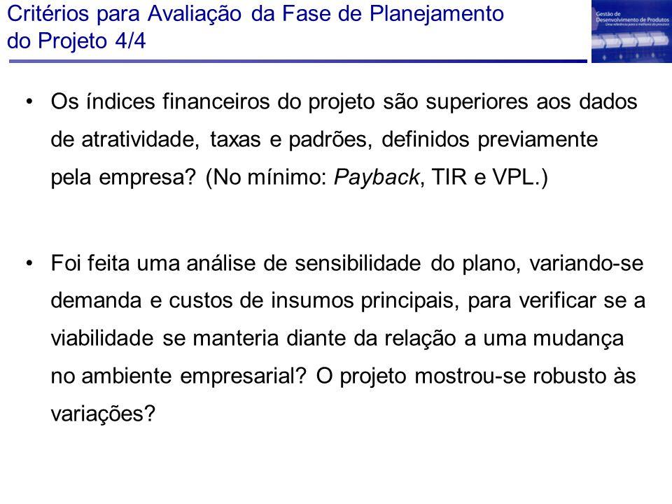 Critérios para Avaliação da Fase de Planejamento do Projeto 4/4 Os índices financeiros do projeto são superiores aos dados de atratividade, taxas e pa