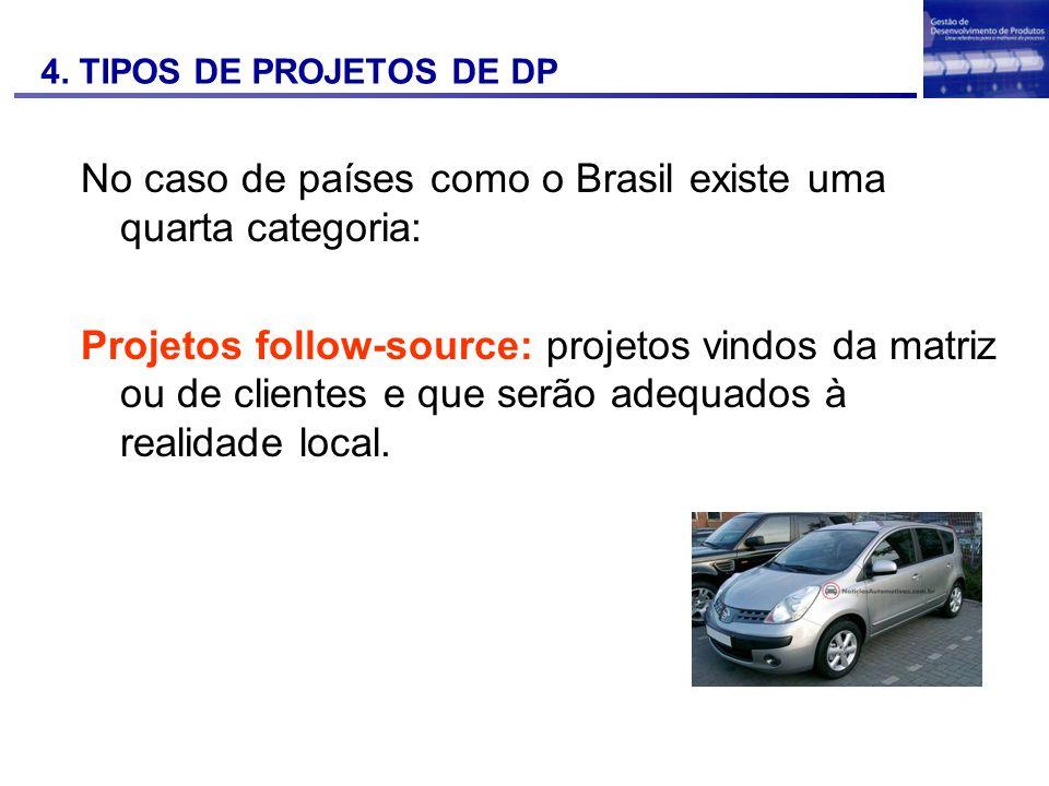 No caso de países como o Brasil existe uma quarta categoria: Projetos follow-source: projetos vindos da matriz ou de clientes e que serão adequados à