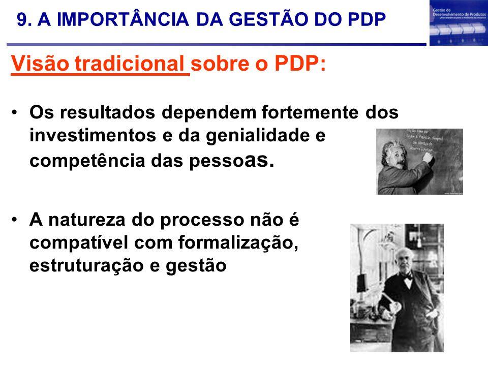 9. A IMPORTÂNCIA DA GESTÃO DO PDP Visão tradicional sobre o PDP: Os resultados dependem fortemente dos investimentos e da genialidade e competência da
