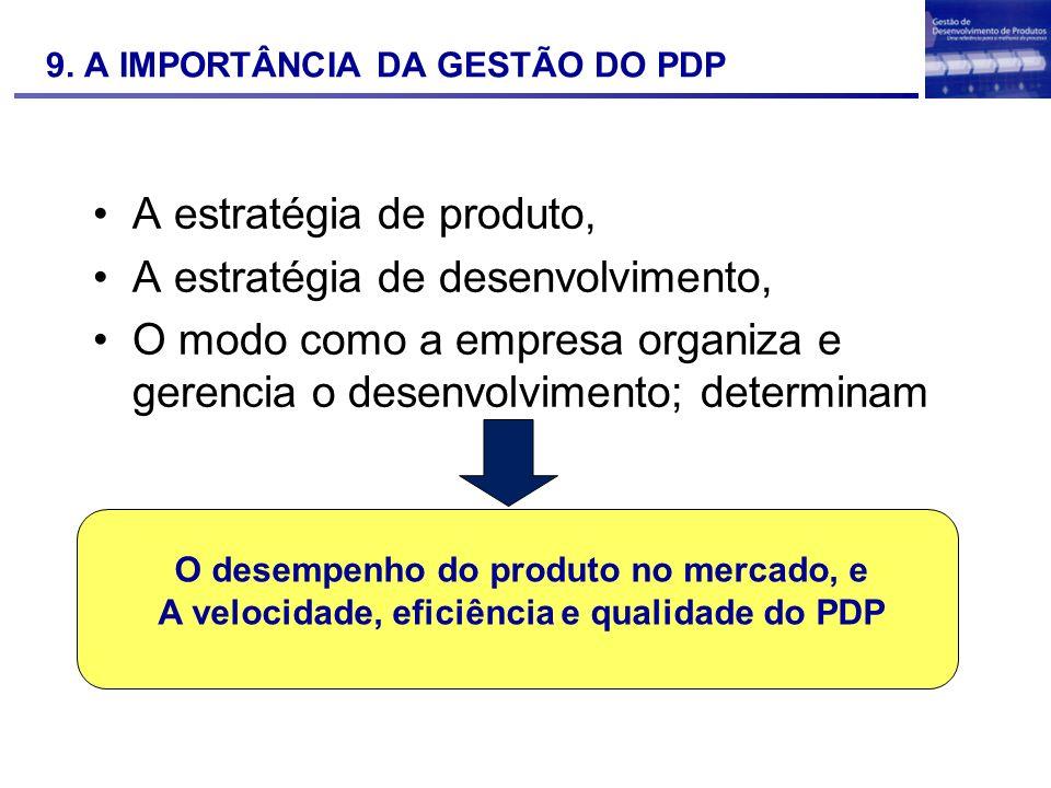 9. A IMPORTÂNCIA DA GESTÃO DO PDP A estratégia de produto, A estratégia de desenvolvimento, O modo como a empresa organiza e gerencia o desenvolviment
