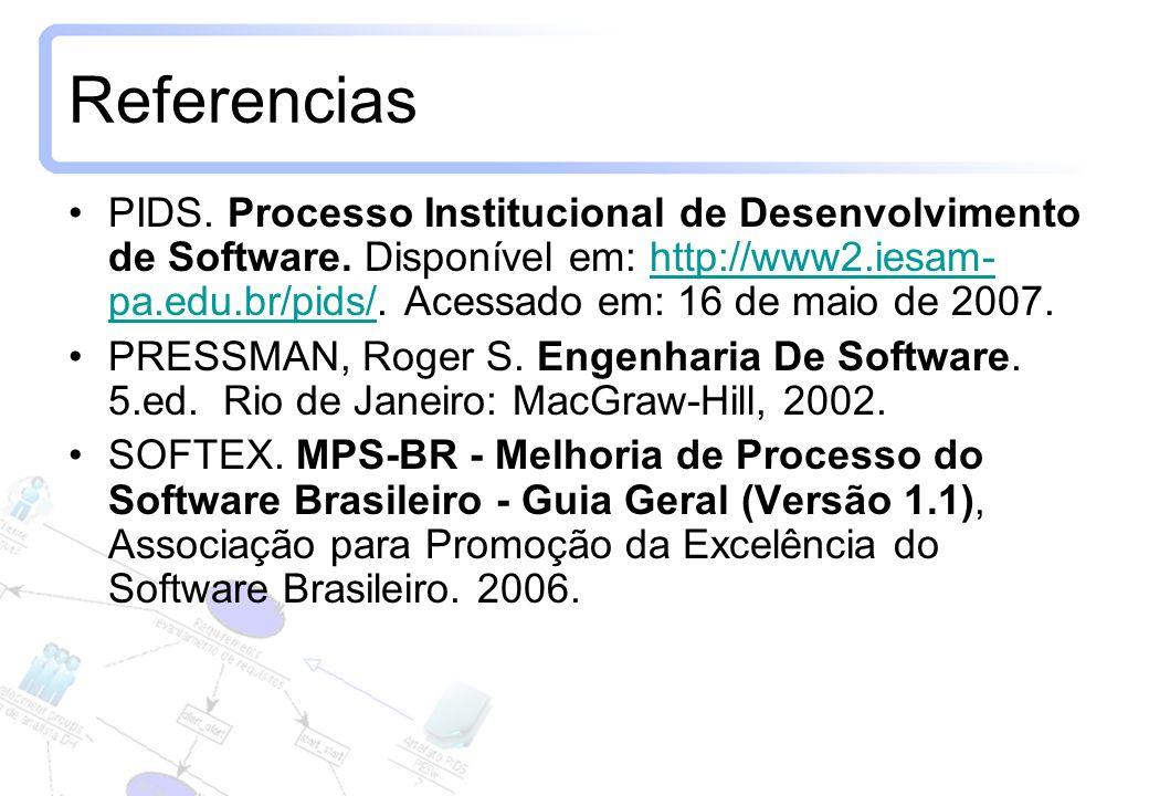 11 Referencias PIDS. Processo Institucional de Desenvolvimento de Software. Disponível em: http://www2.iesam- pa.edu.br/pids/. Acessado em: 16 de maio