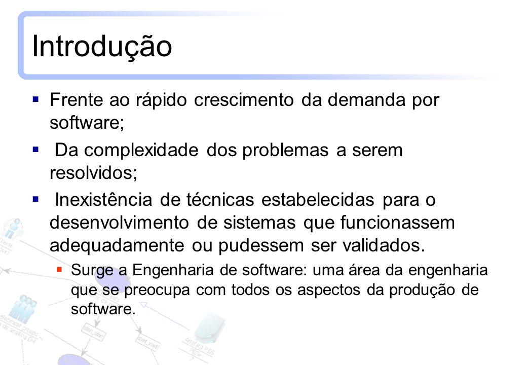 2 Introdução Frente ao rápido crescimento da demanda por software; Da complexidade dos problemas a serem resolvidos; Inexistência de técnicas estabele