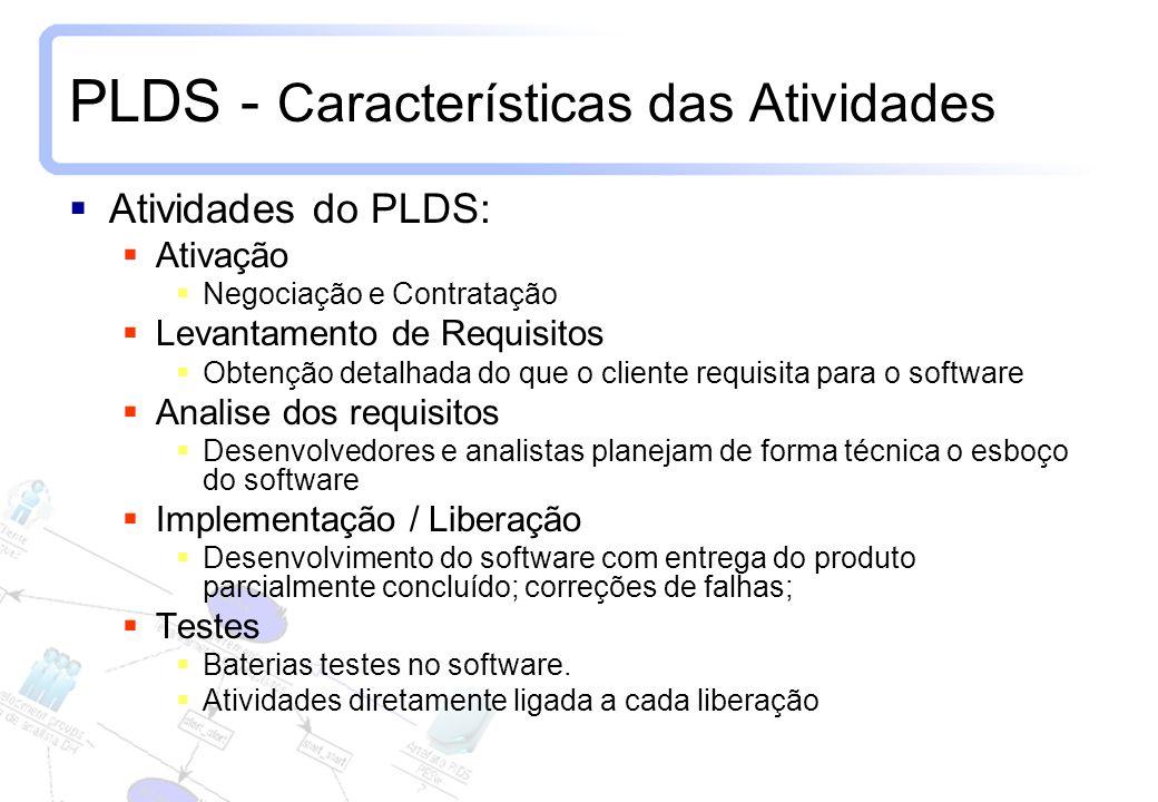 7 PLDS - Características das Atividades Atividades do PLDS: Ativação Negociação e Contratação Levantamento de Requisitos Obtenção detalhada do que o c