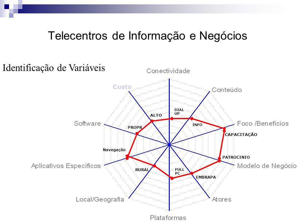FULL PC Custo DIAL UP Navegação INFO RURAL PROPR ALTO PATROCINIO CAPACITAÇÃO EMBRAPA Telecentros de Informação e Negócios Identificação de Variáveis