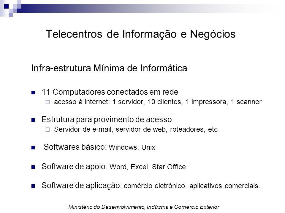 Infra-estrutura Mínima de Informática 11 Computadores conectados em rede acesso à internet: 1 servidor, 10 clientes, 1 impressora, 1 scanner Estrutura