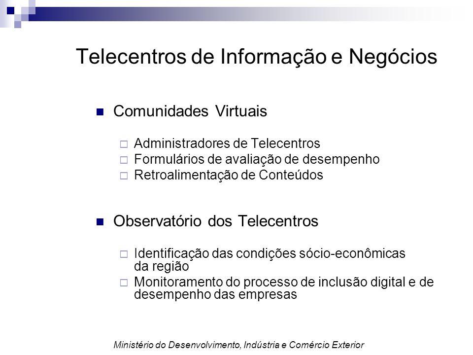 Comunidades Virtuais Administradores de Telecentros Formulários de avaliação de desempenho Retroalimentação de Conteúdos Observatório dos Telecentros