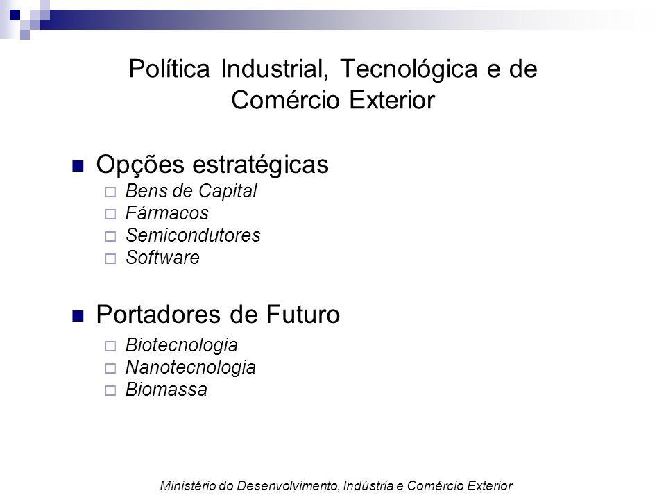 Política Industrial, Tecnológica e de Comércio Exterior Opções estratégicas Bens de Capital Fármacos Semicondutores Software Portadores de Futuro Biot