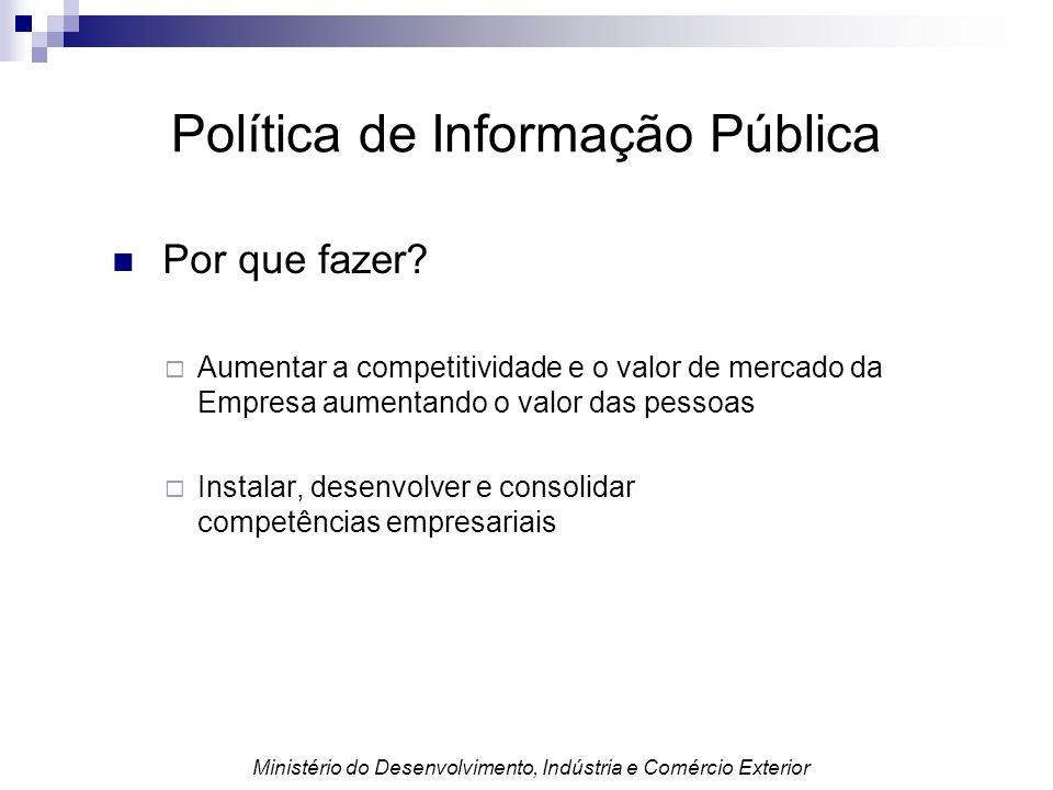 Política de Informação Pública Por que fazer? Aumentar a competitividade e o valor de mercado da Empresa aumentando o valor das pessoas Instalar, dese