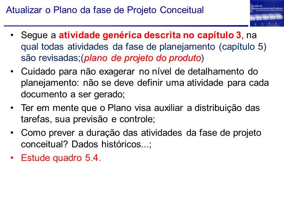 Atualizar o Plano da fase de Projeto Conceitual plano de projeto do produtoSegue a atividade genérica descrita no capítulo 3, na qual todas atividades