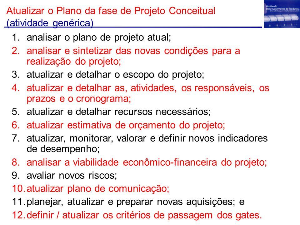 Atualizar o Plano da fase de Projeto Conceitual (atividade genérica) 1.analisar o plano de projeto atual; 2.analisar e sintetizar das novas condições para a realização do projeto; 3.atualizar e detalhar o escopo do projeto; 4.atualizar e detalhar as, atividades, os responsáveis, os prazos e o cronograma; 5.atualizar e detalhar recursos necessários; 6.atualizar estimativa de orçamento do projeto; 7.atualizar, monitorar, valorar e definir novos indicadores de desempenho; 8.analisar a viabilidade econômico-financeira do projeto; 9.avaliar novos riscos; 10.atualizar plano de comunicação; 11.planejar, atualizar e preparar novas aquisições; e 12.definir / atualizar os critérios de passagem dos gates.