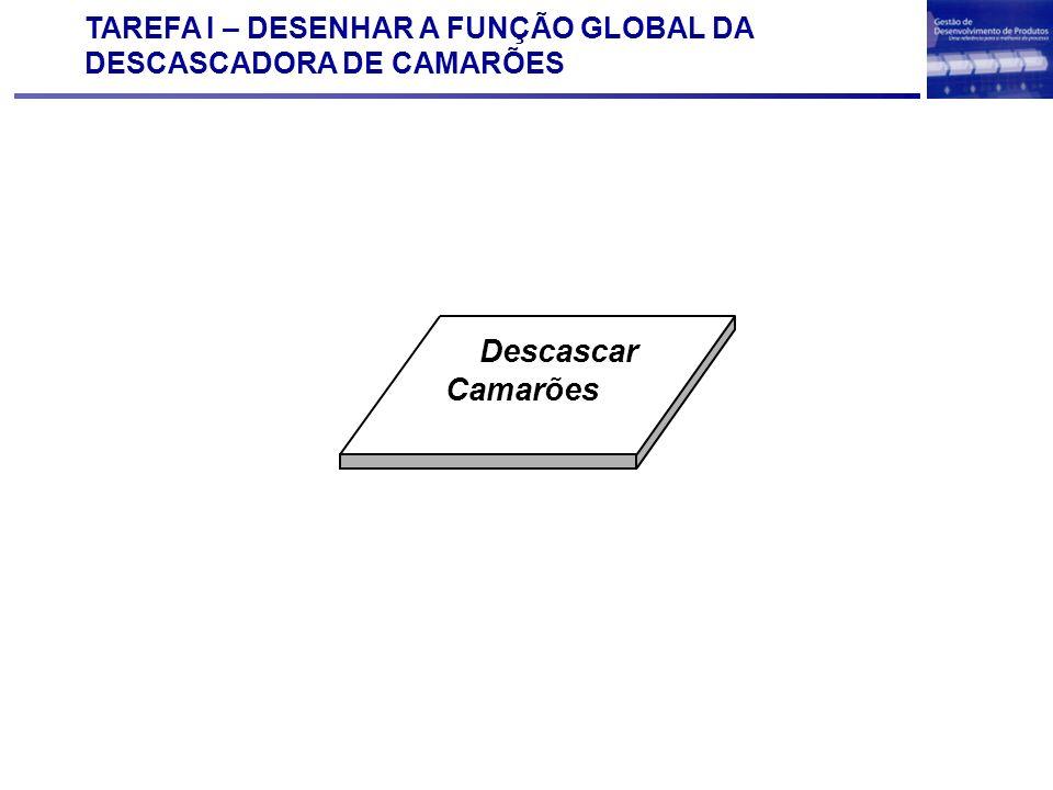 TAREFA I – DESENHAR A FUNÇÃO GLOBAL DA DESCASCADORA DE CAMARÕES Descascar Camarões