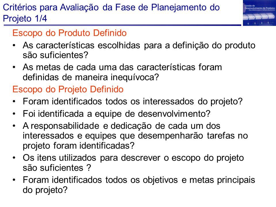 Critérios para Avaliação da Fase de Planejamento do Projeto 1/4 Escopo do Produto Definido As características escolhidas para a definição do produto s