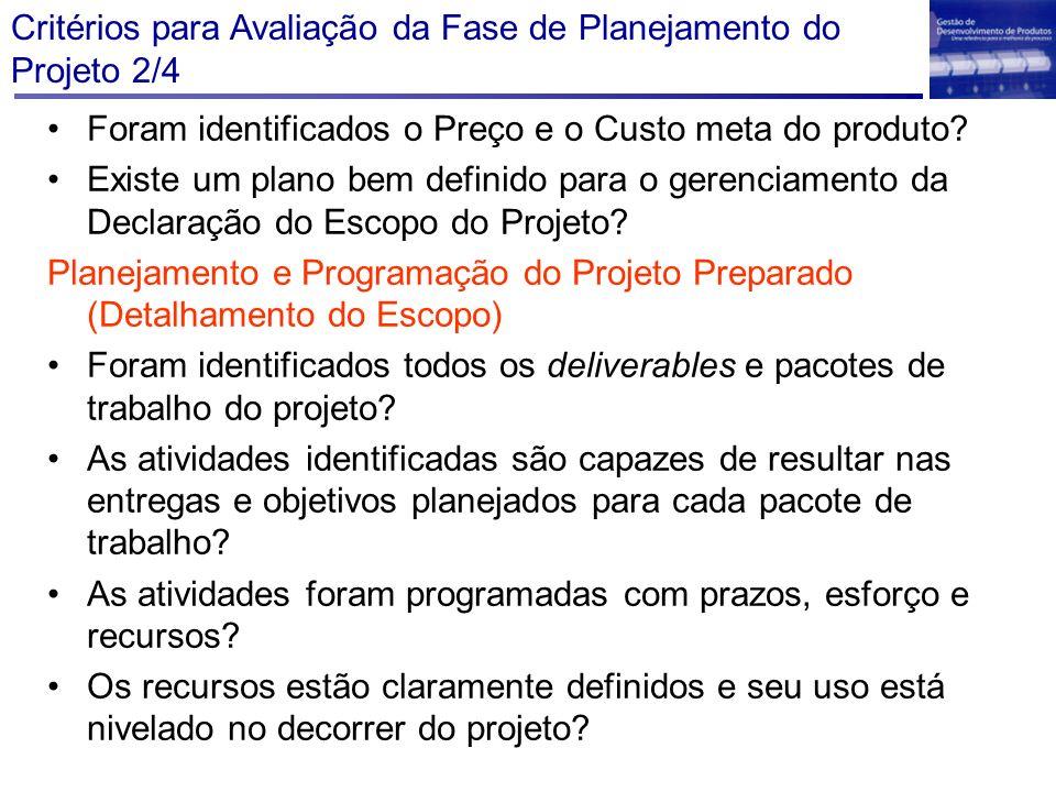 Critérios para Avaliação da Fase de Planejamento do Projeto 2/4 Foram identificados o Preço e o Custo meta do produto? Existe um plano bem definido pa