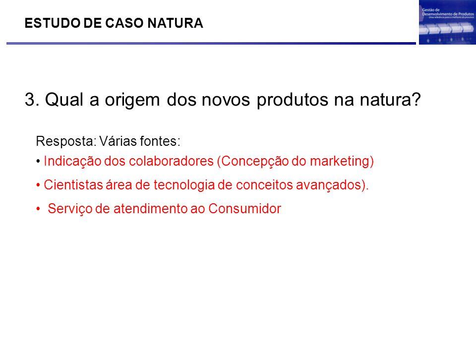 ESTUDO DE CASO NATURA 3. Qual a origem dos novos produtos na natura? Resposta: Várias fontes: Indicação dos colaboradores (Concepção do marketing) Cie