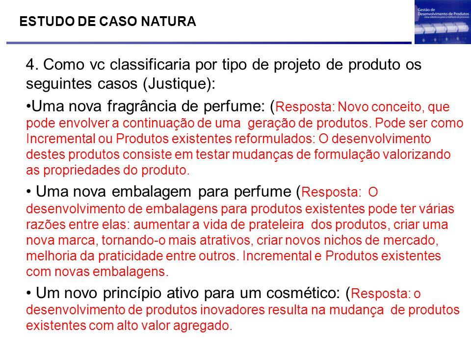 ESTUDO DE CASO NATURA 4. Como vc classificaria por tipo de projeto de produto os seguintes casos (Justique): Uma nova fragrância de perfume: ( Respost