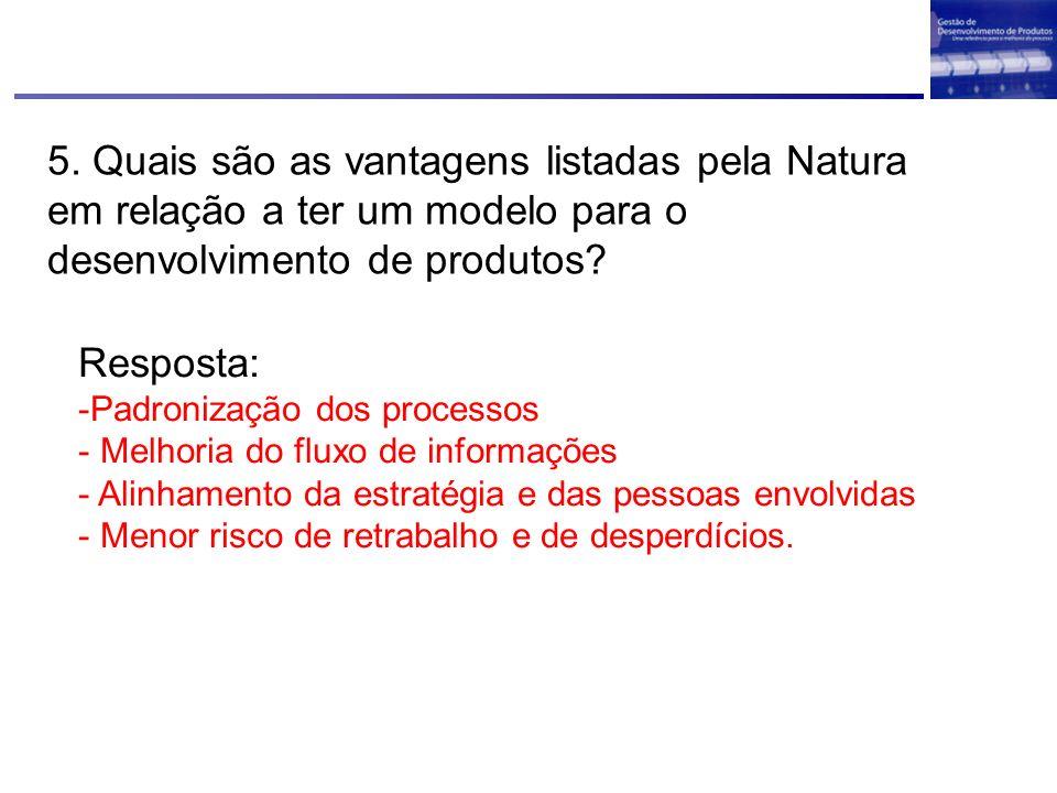 5. Quais são as vantagens listadas pela Natura em relação a ter um modelo para o desenvolvimento de produtos? Resposta: -Padronização dos processos -