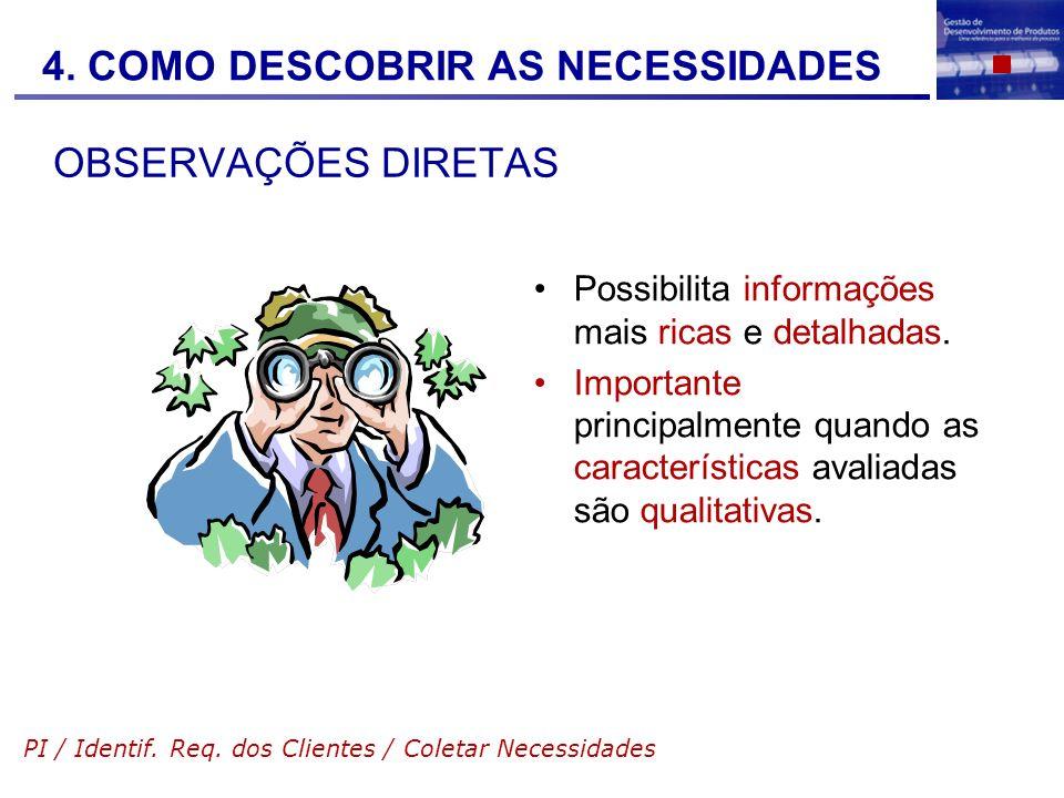 OBSERVAÇÕES DIRETAS Possibilita informações mais ricas e detalhadas. Importante principalmente quando as características avaliadas são qualitativas. P