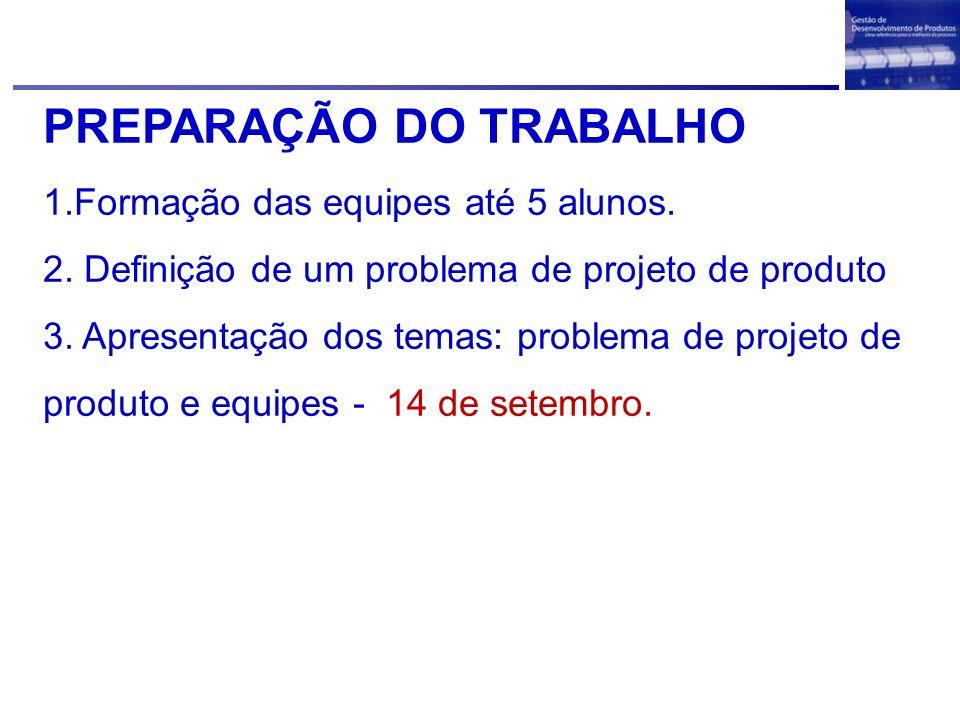 PREPARAÇÃO DO TRABALHO 1.Formação das equipes até 5 alunos. 2. Definição de um problema de projeto de produto 3. Apresentação dos temas: problema de p