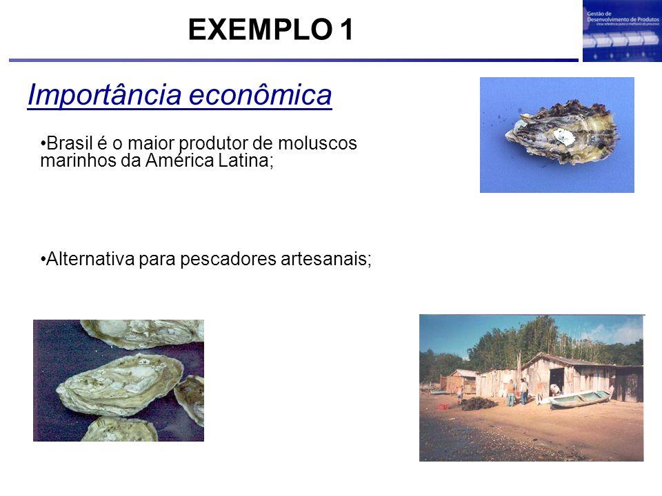 Importância econômica Alternativa para pescadores artesanais; Brasil é o maior produtor de moluscos marinhos da América Latina; EXEMPLO 1