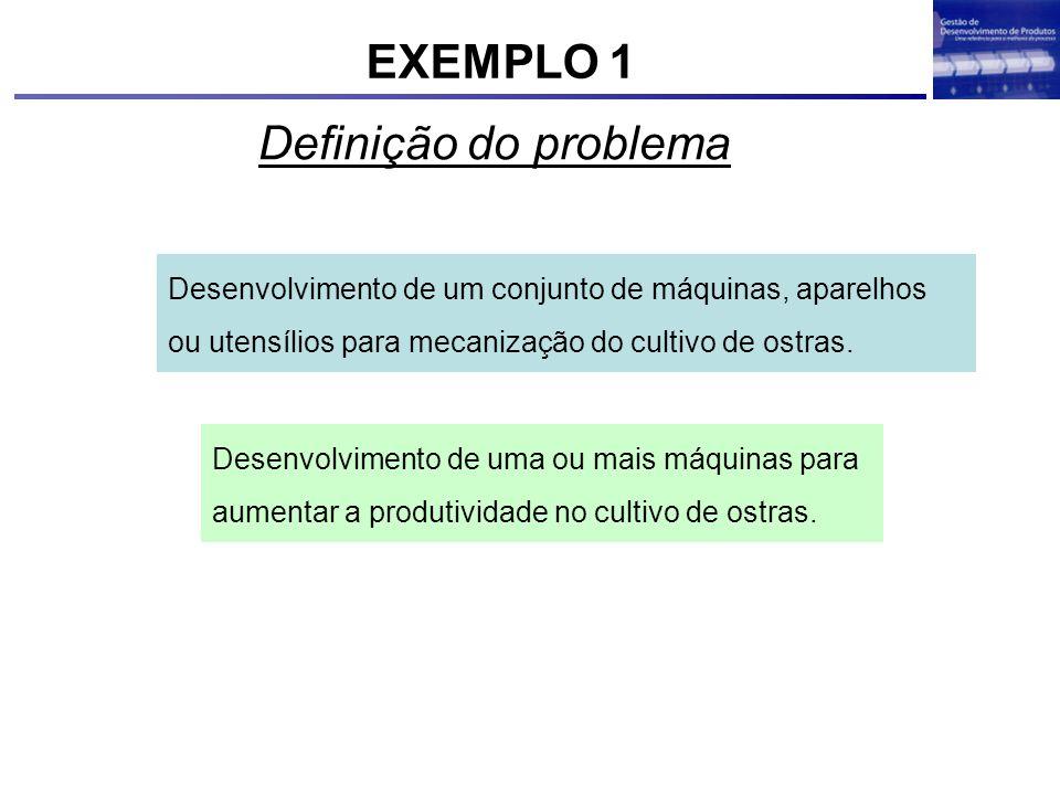 Definição do problema Desenvolvimento de um conjunto de máquinas, aparelhos ou utensílios para mecanização do cultivo de ostras. Desenvolvimento de um