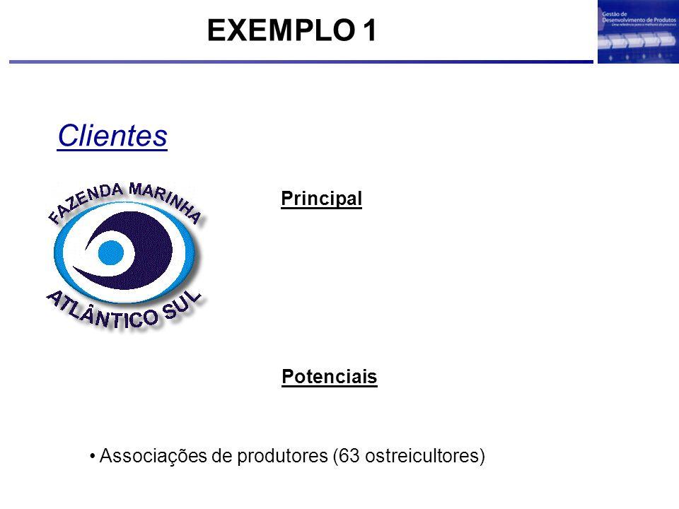 Clientes Associações de produtores (63 ostreicultores) Principal Potenciais EXEMPLO 1