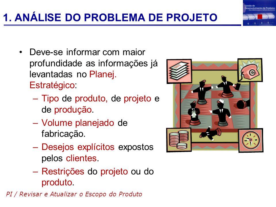 Deve-se informar com maior profundidade as informações já levantadas no Planej. Estratégico: –Tipo de produto, de projeto e de produção. –Volume plane