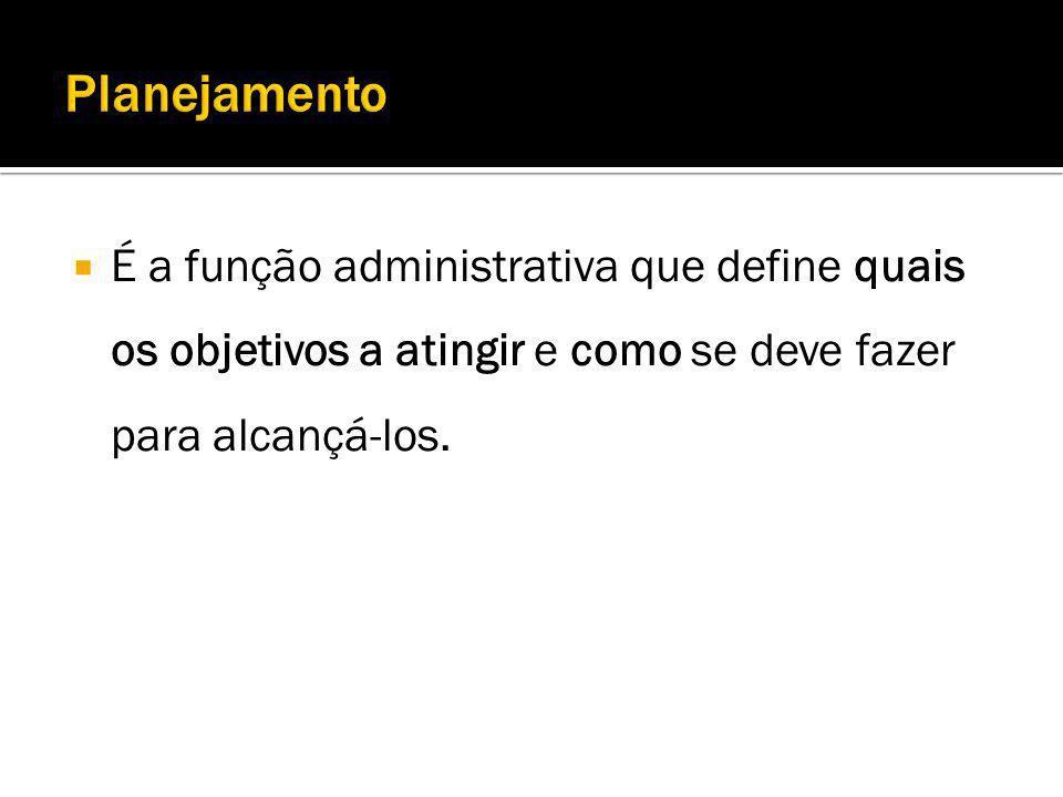 É a função administrativa que define quais os objetivos a atingir e como se deve fazer para alcançá-los.