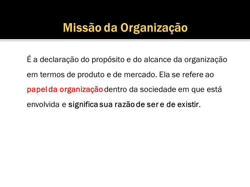 É a declaração do propósito e do alcance da organização em termos de produto e de mercado.