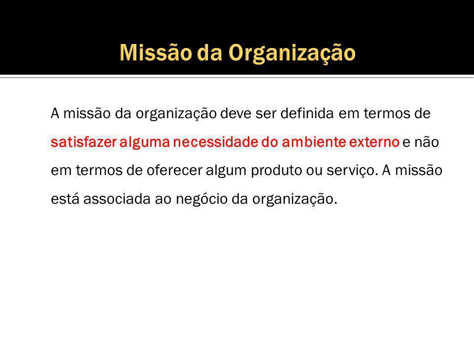 A missão da organização deve ser definida em termos de satisfazer alguma necessidade do ambiente externo e não em termos de oferecer algum produto ou serviço.