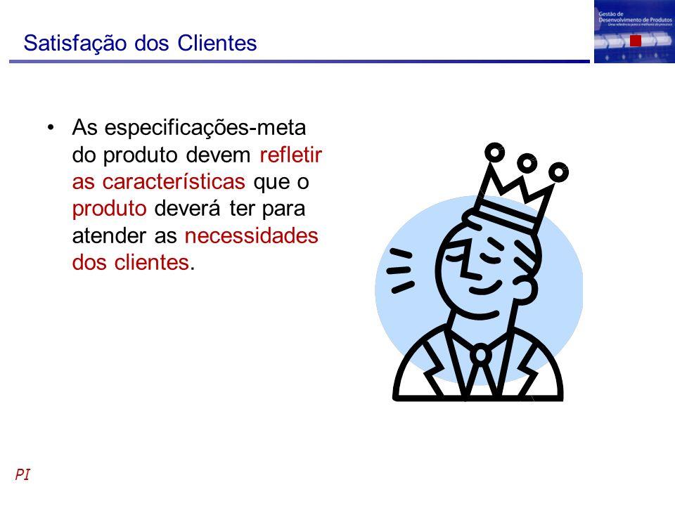 Satisfação dos Clientes As especificações-meta do produto devem refletir as características que o produto deverá ter para atender as necessidades dos