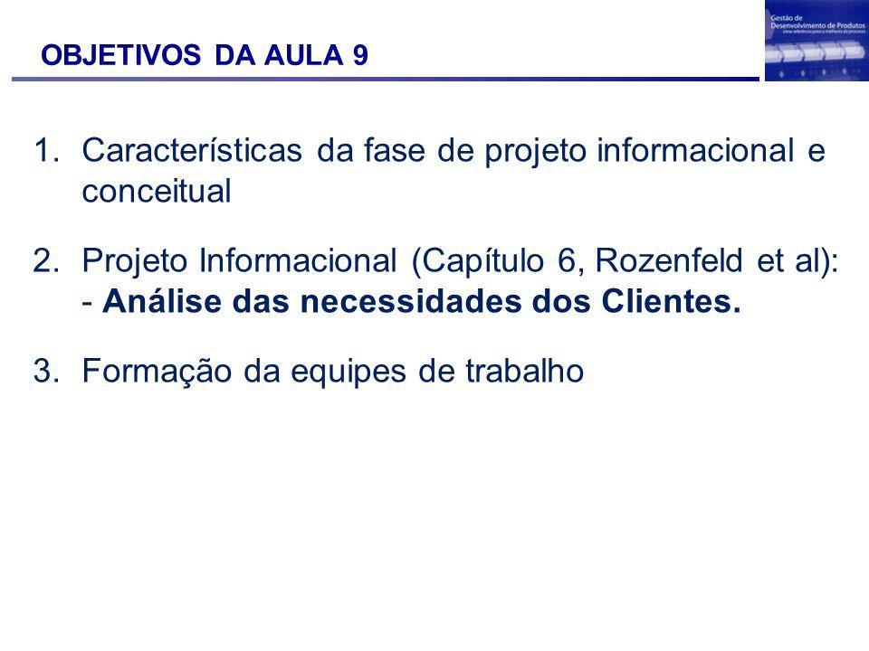 OBJETIVOS DA AULA 9 1.Características da fase de projeto informacional e conceitual 2.Projeto Informacional (Capítulo 6, Rozenfeld et al): - Análise d