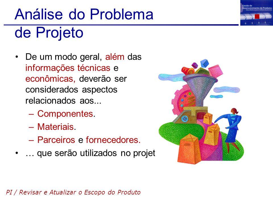 Análise do Problema de Projeto De um modo geral, além das informações técnicas e econômicas, deverão ser considerados aspectos relacionados aos... –Co