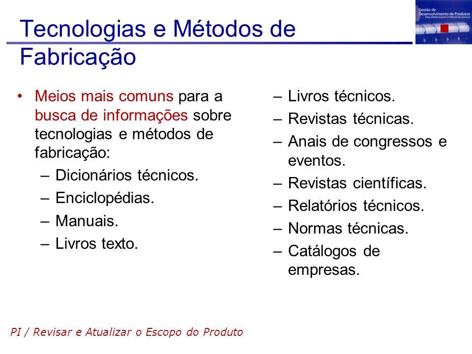 Tecnologias e Métodos de Fabricação Meios mais comuns para a busca de informações sobre tecnologias e métodos de fabricação: –Dicionários técnicos. –E