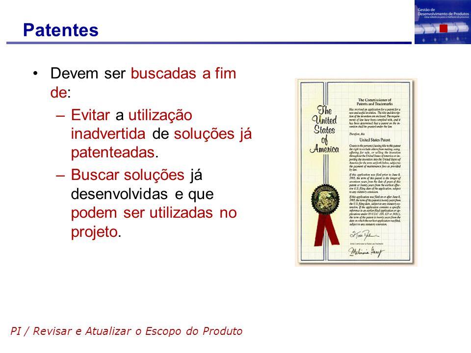 Patentes Devem ser buscadas a fim de: –Evitar a utilização inadvertida de soluções já patenteadas. –Buscar soluções já desenvolvidas e que podem ser u