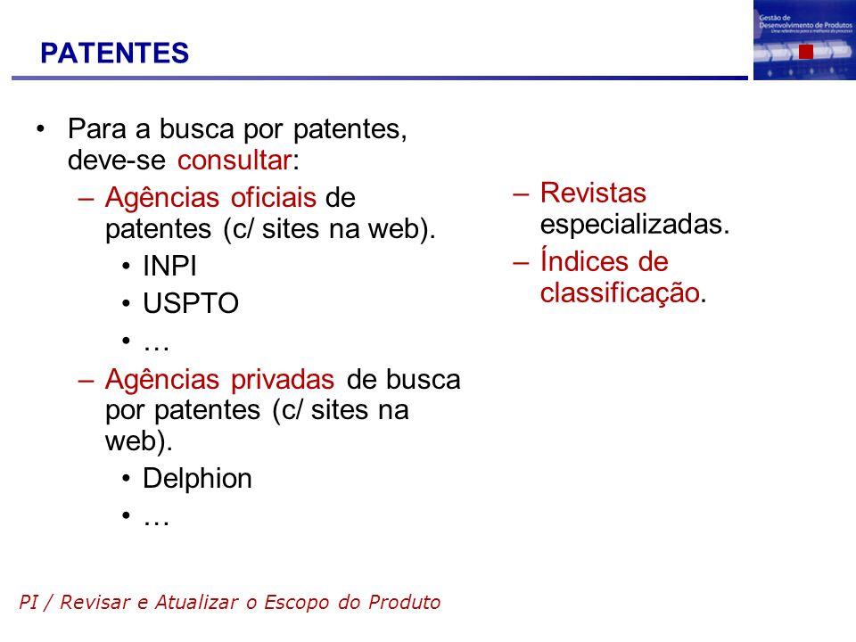 PATENTES Para a busca por patentes, deve-se consultar: –Agências oficiais de patentes (c/ sites na web). INPI USPTO … –Agências privadas de busca por