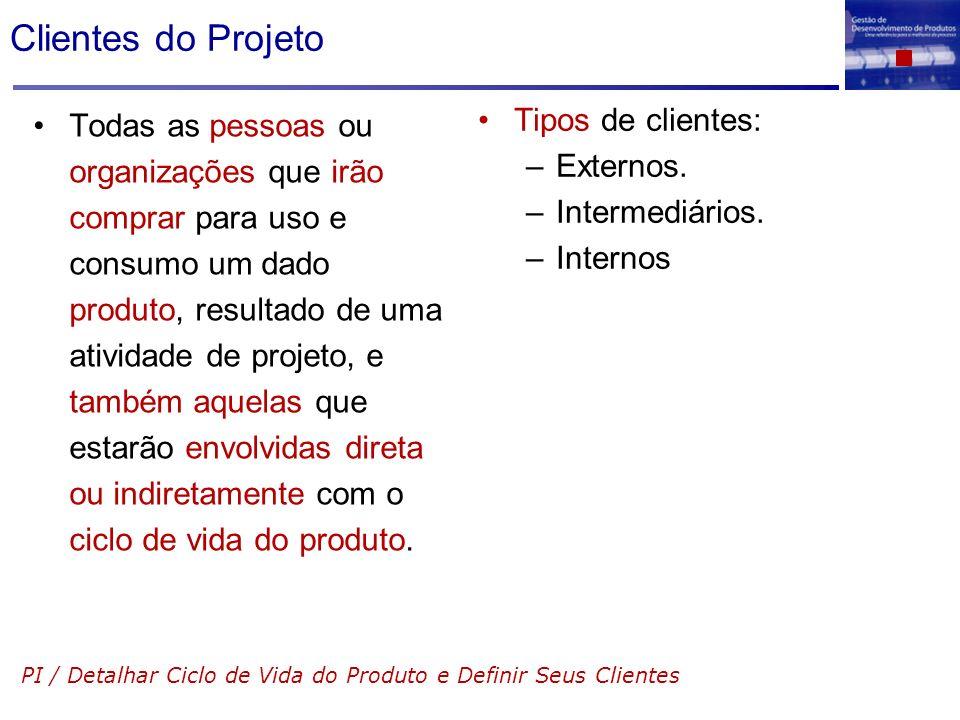 Clientes do Projeto Todas as pessoas ou organizações que irão comprar para uso e consumo um dado produto, resultado de uma atividade de projeto, e tam
