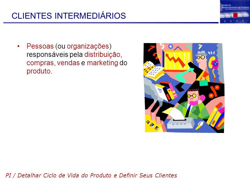 CLIENTES INTERMEDIÁRIOS Pessoas (ou organizações) responsáveis pela distribuição, compras, vendas e marketing do produto. PI / Detalhar Ciclo de Vida