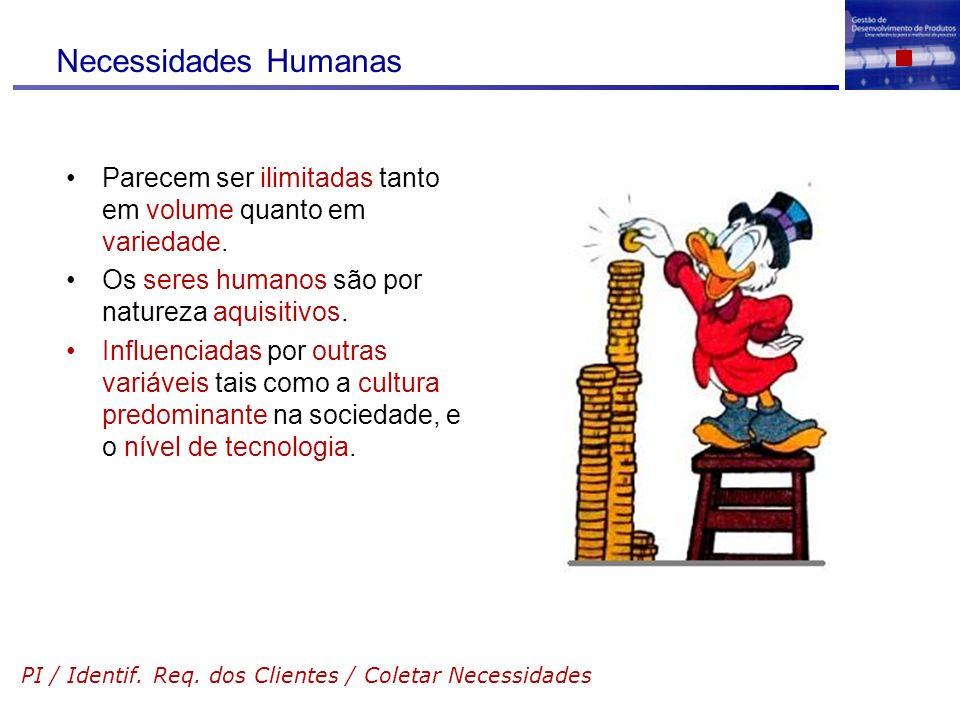 Necessidades Humanas Parecem ser ilimitadas tanto em volume quanto em variedade. Os seres humanos são por natureza aquisitivos. Influenciadas por outr