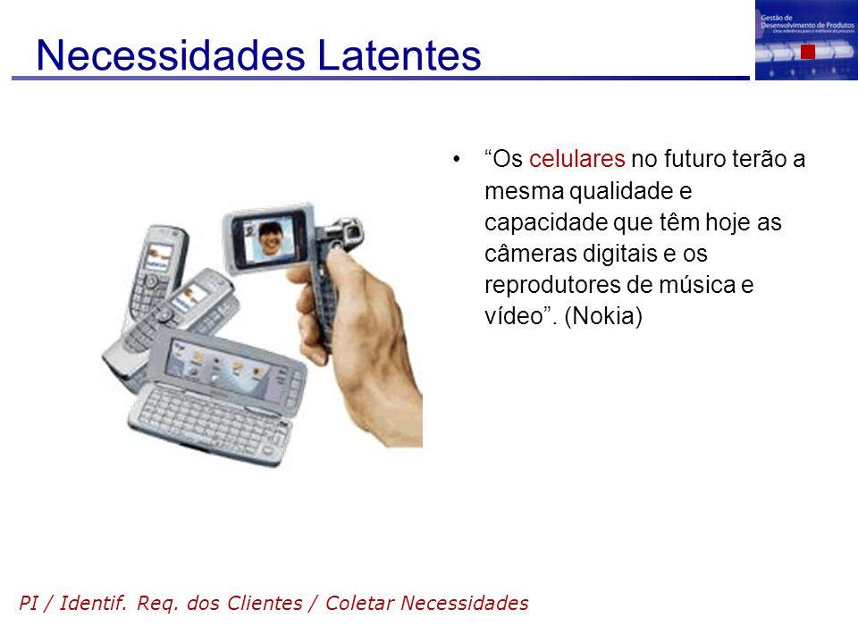Necessidades Latentes Os celulares no futuro terão a mesma qualidade e capacidade que têm hoje as câmeras digitais e os reprodutores de música e vídeo