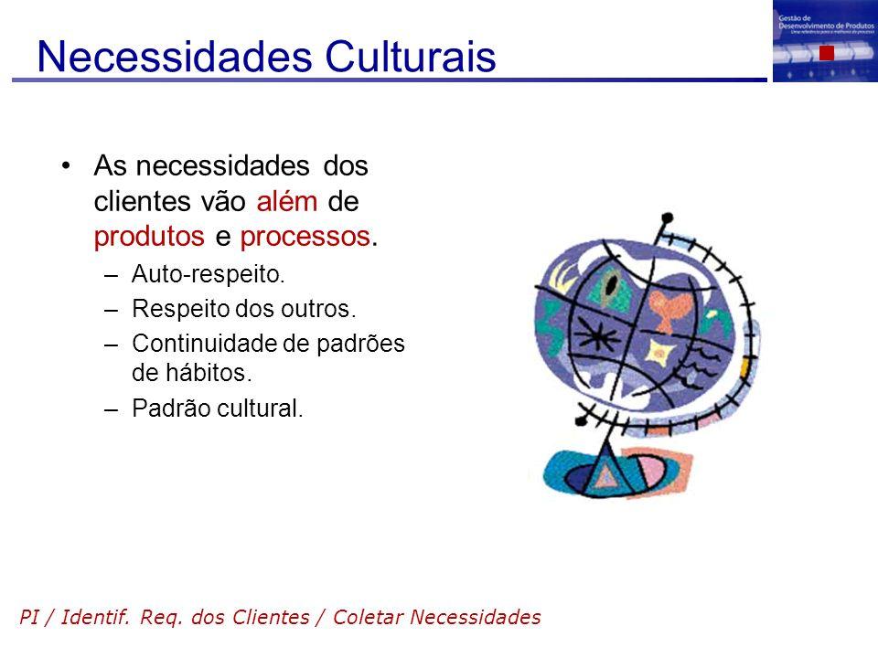 Necessidades Culturais As necessidades dos clientes vão além de produtos e processos. –Auto-respeito. –Respeito dos outros. –Continuidade de padrões d