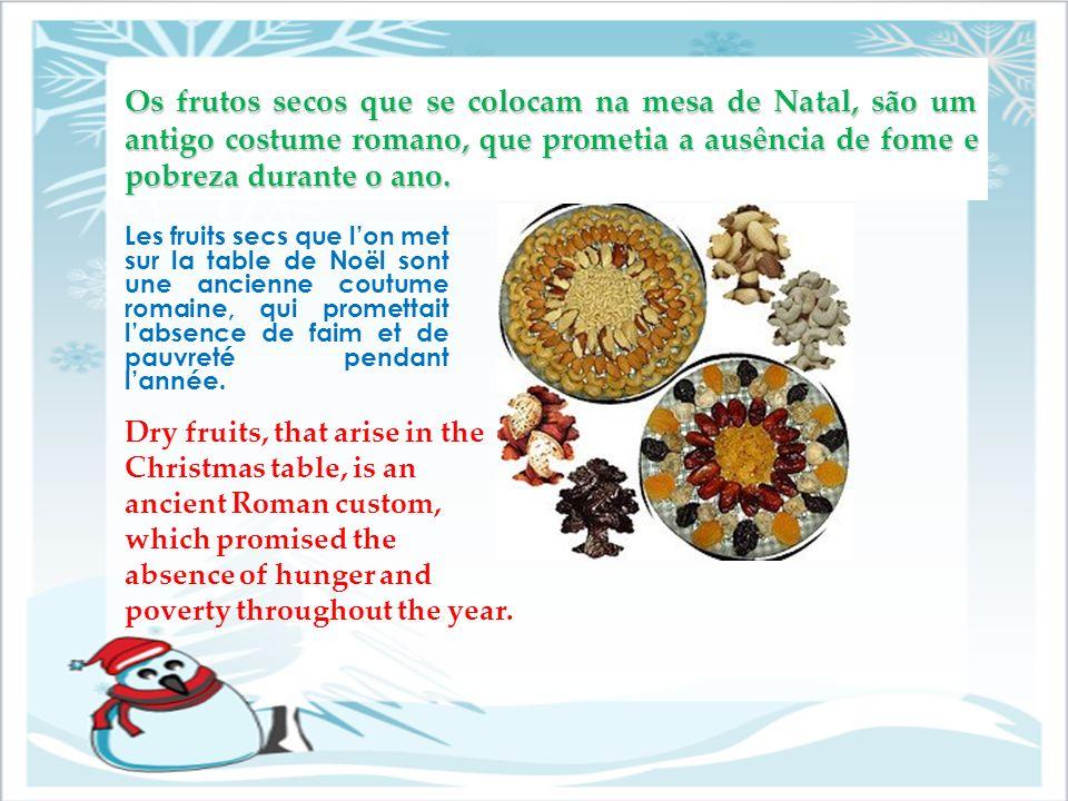 Os frutos secos que se colocam na mesa de Natal, são um antigo costume romano, que prometia a ausência de fome e pobreza durante o ano. Les fruits sec