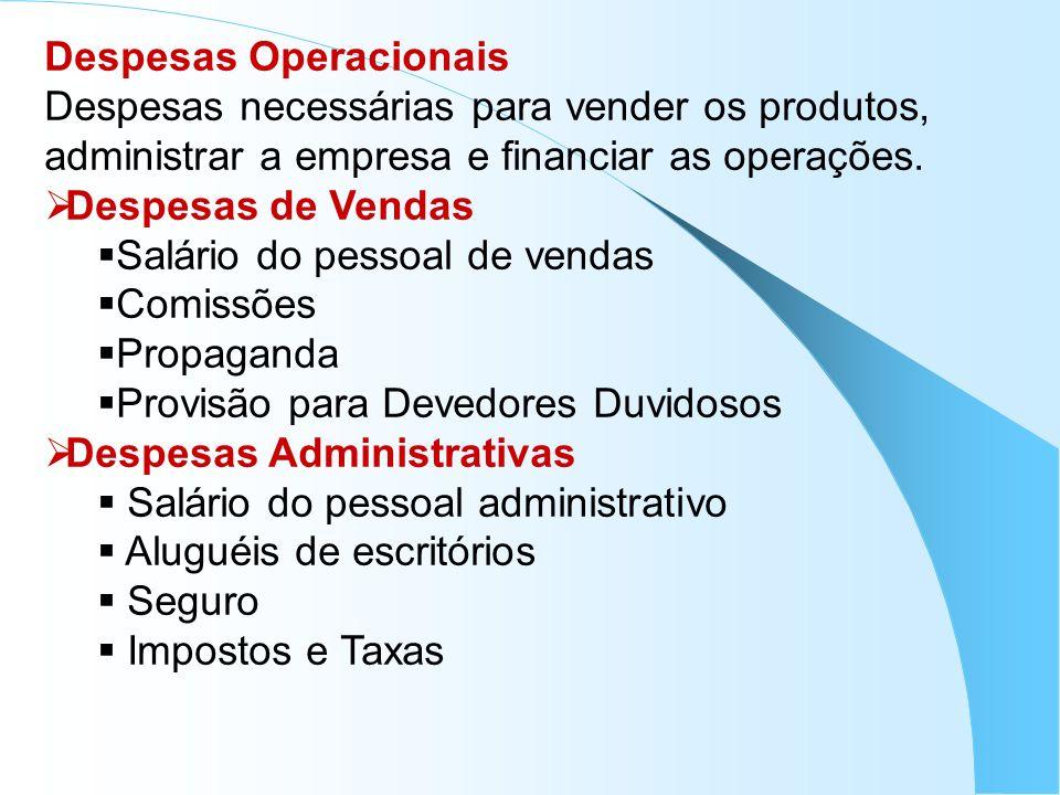 Despesas Operacionais Despesas necessárias para vender os produtos, administrar a empresa e financiar as operações. Despesas de Vendas Salário do pess