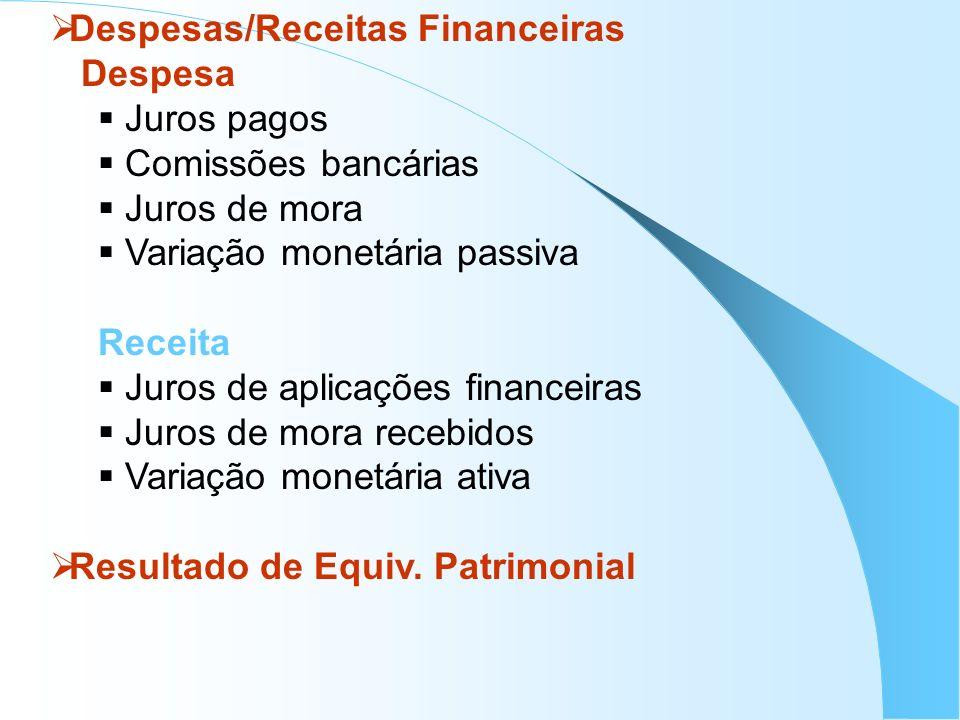 Despesas/Receitas Financeiras Despesa Juros pagos Comissões bancárias Juros de mora Variação monetária passiva Receita Juros de aplicações financeiras
