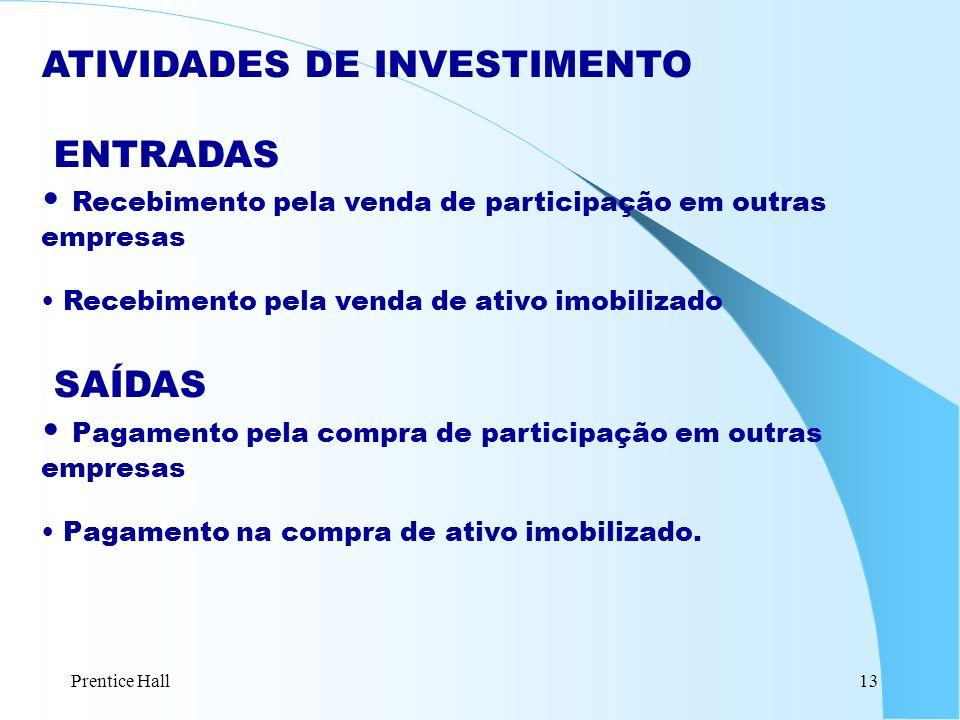 Prentice Hall13 ATIVIDADES DE INVESTIMENTO ENTRADAS Recebimento pela venda de participação em outras empresas Recebimento pela venda de ativo imobiliz