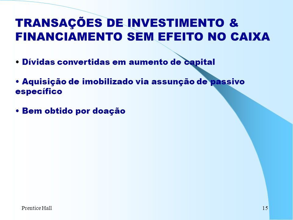 Prentice Hall15 TRANSAÇÕES DE INVESTIMENTO & FINANCIAMENTO SEM EFEITO NO CAIXA Dívidas convertidas em aumento de capital Aquisição de imobilizado via