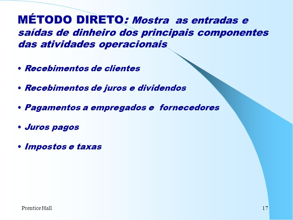 Prentice Hall17 MÉTODO DIRETO: Mostra as entradas e saídas de dinheiro dos principais componentes das atividades operacionais Recebimentos de clientes