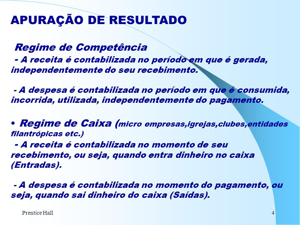 Prentice Hall5 EXEMPLO: Competência vs Caixa (Em R$ 000) A Cia.