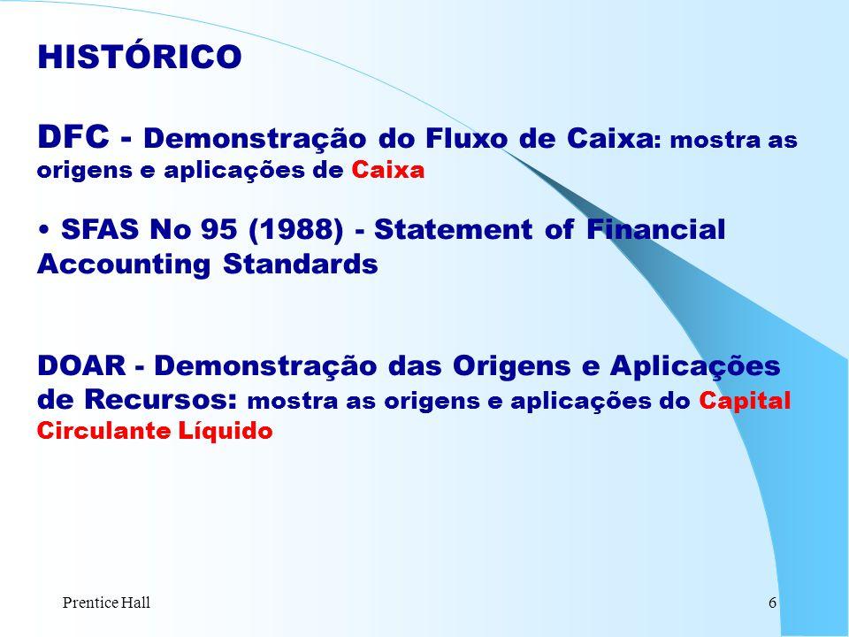 Prentice Hall6 HISTÓRICO DFC - Demonstração do Fluxo de Caixa : mostra as origens e aplicações de Caixa SFAS No 95 (1988) - Statement of Financial Acc