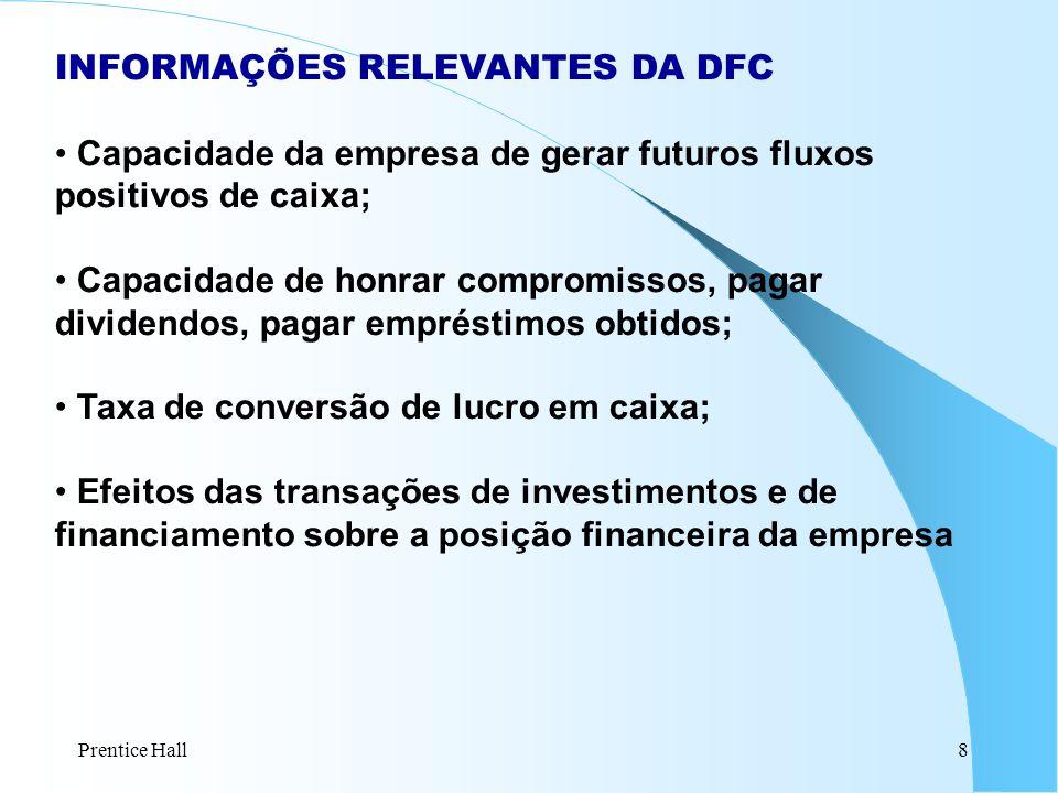 Prentice Hall8 INFORMAÇÕES RELEVANTES DA DFC Capacidade da empresa de gerar futuros fluxos positivos de caixa; Capacidade de honrar compromissos, paga